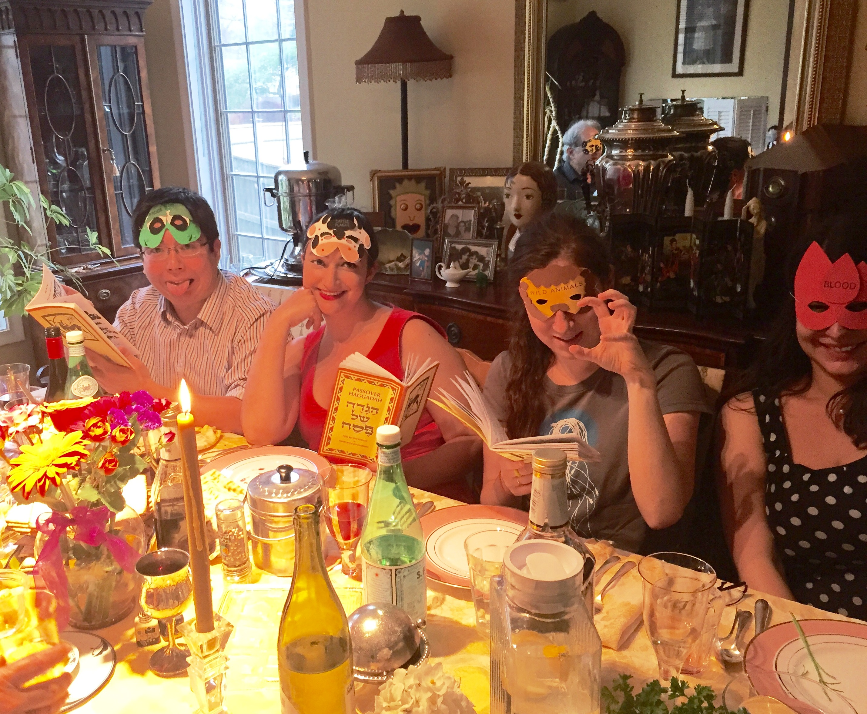Passover 2016 with our plague masks.jpg